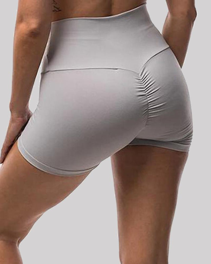 Solid Ruched Butt Lifting High Waist Sports Short gallery 2