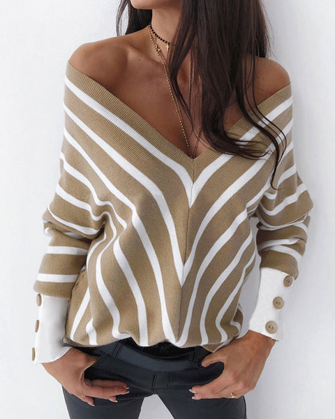 Striped V Neck Drop Shoulder Sweatshirt