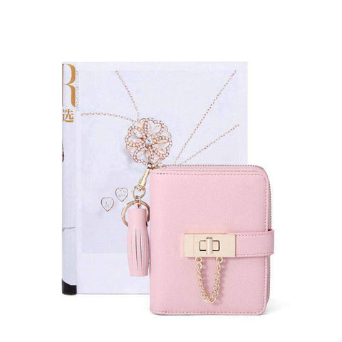 Cow Leather Cute Pink All-Match Short Sized Wallet With Chain And Tassel Element gallery 7