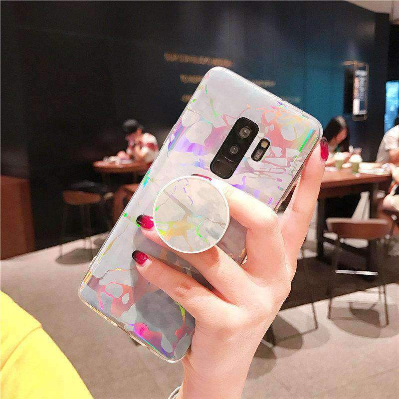 Marble Design Phone Case, Ceramic Pattern Super Slim Cover Jade Image Shell Case With Phone Holder for Samsung