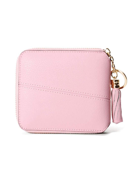 All-Match Pink Cow Leather Short Sized Minimalism Wallet With Zipper gallery 1