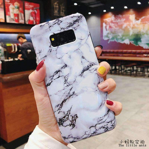 Anti-Fall Black&White Marble Phone Case for Samsung gallery 15