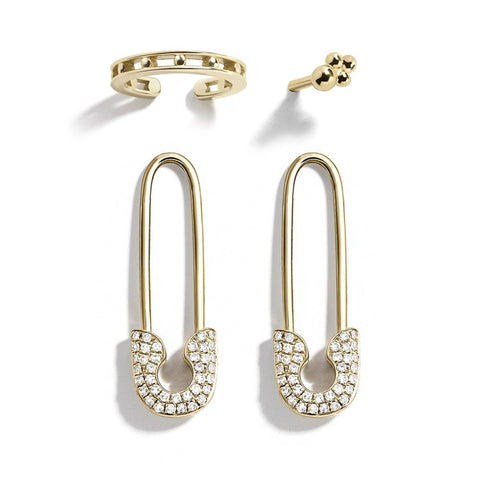 2 Colors Diamante Safety Pin Earring Set