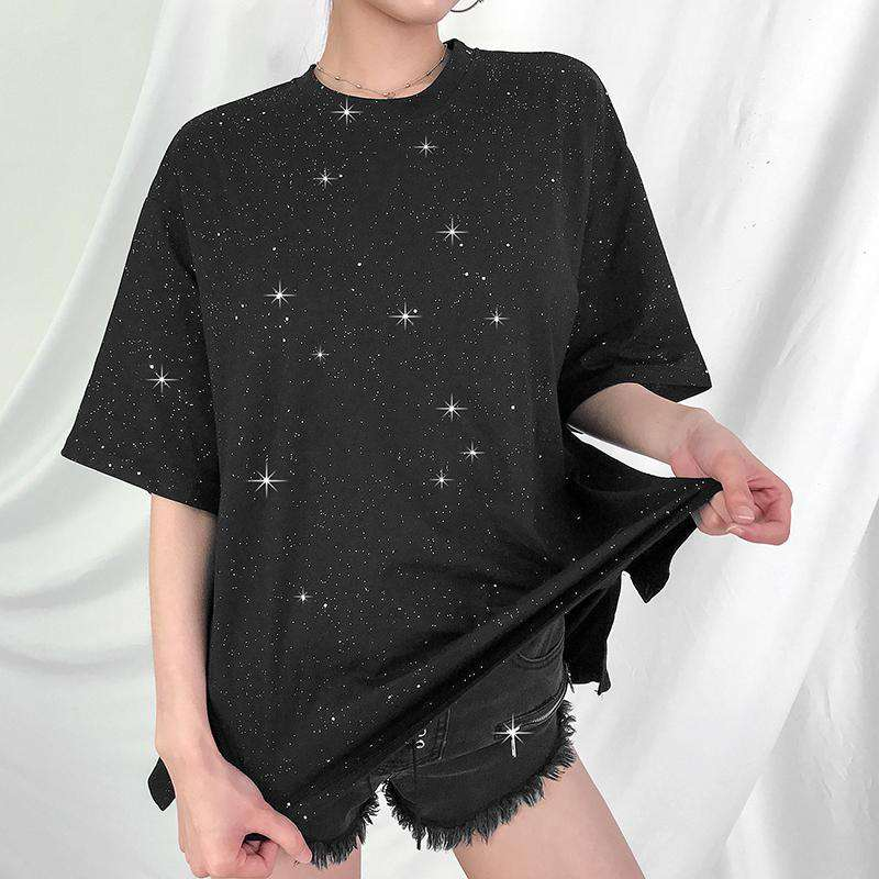 Glitter Star Print with Short Sleeves Loose & Comfortable Top