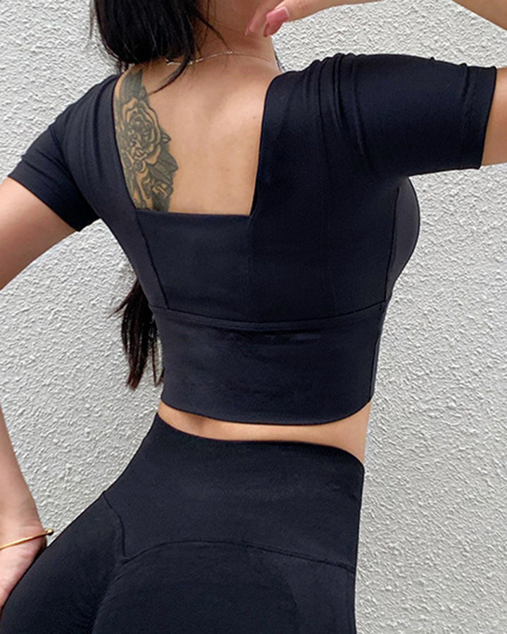 Solid Backless Crop Sports Top gallery 8