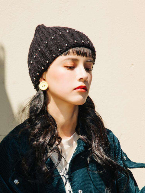 Punk Style Beaded Knit Beanie Hat gallery 8