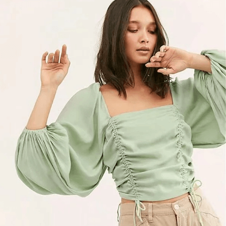Drawstring Long Sleeve Ruched Square Collar Cropped Blouse gallery 3