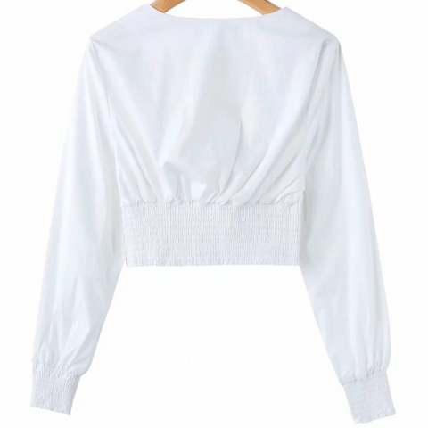 White Criss Cross Elastic Ruched Waist V-neck Cropped Shirt gallery 4