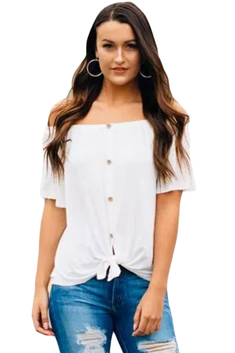 White Off the Shoulder Button Top gallery 2