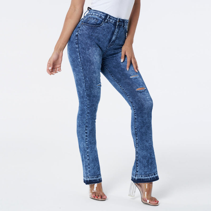 Vintage High Waist Knee Distressed Flare Jeans