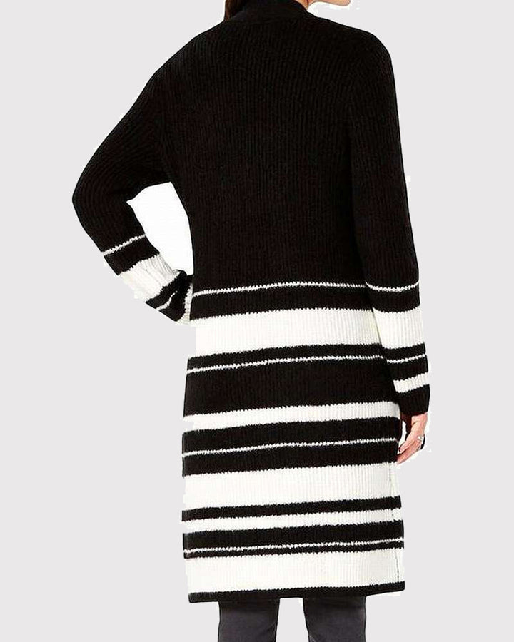 Striped Rib-Knit Dual Pocket Open Front Cardigan gallery 2