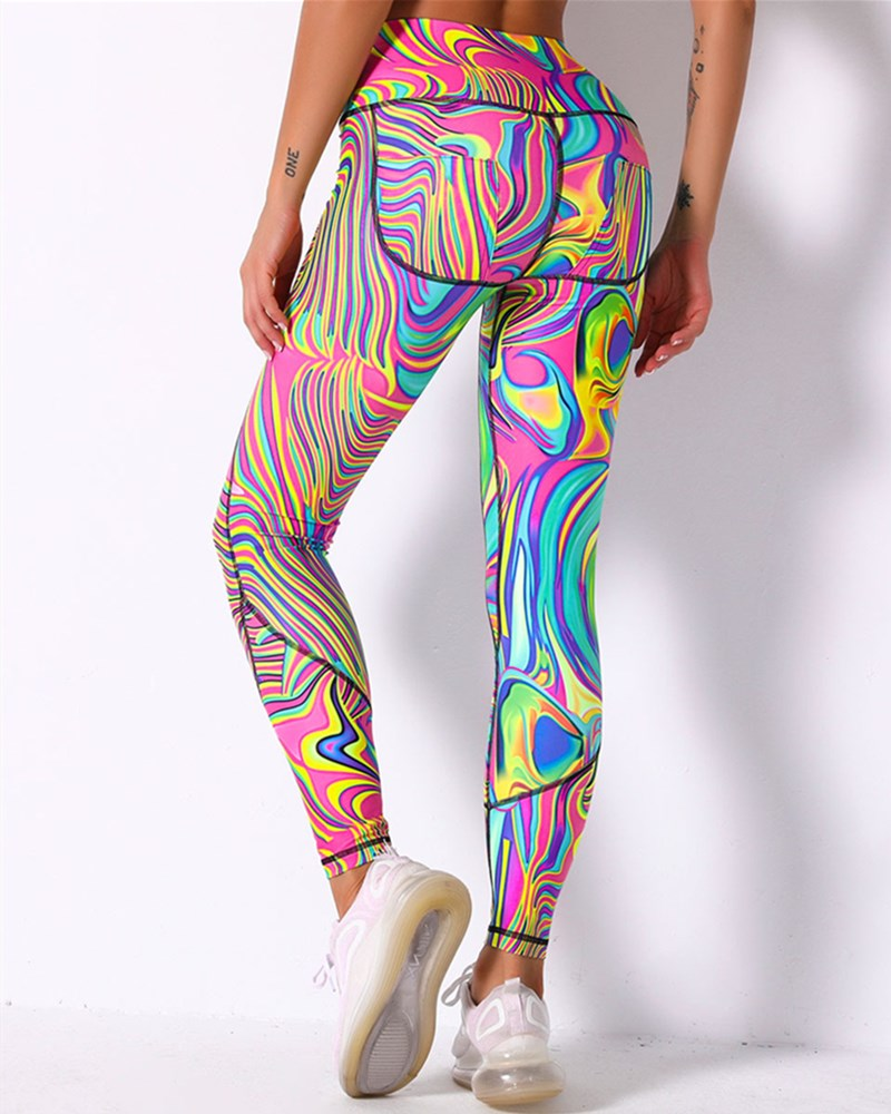 Graffiti Print Topstitching Wide Waistband Sports Leggings