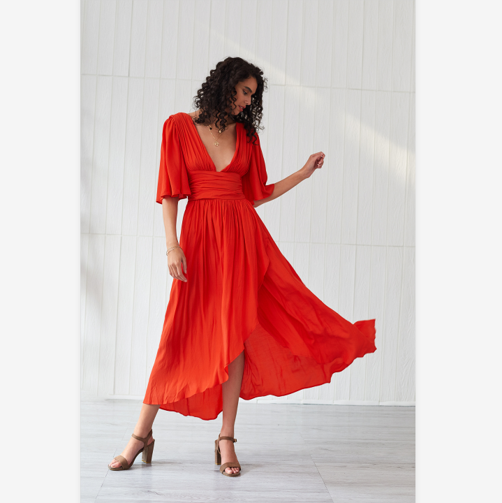 Solid Color Plunge Corset Frill Flare Sleeve Dress