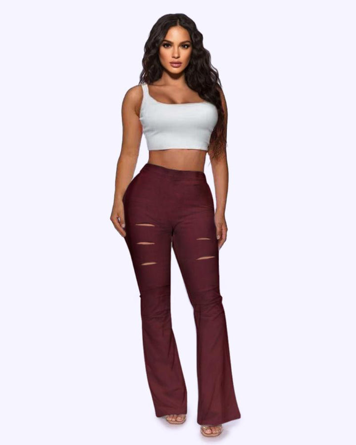 Solid Cut Out High Waist Flare Pants gallery 4
