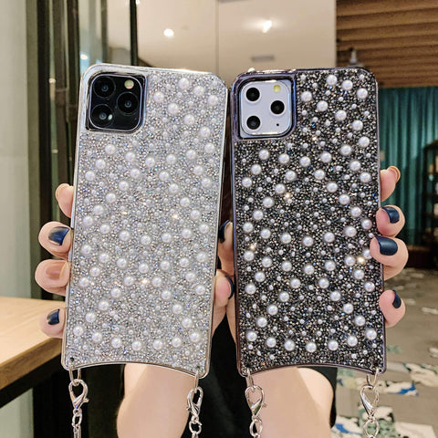 Sparkle Crystal Pearl Stud Phone Case for Samsung with Hand Strap gallery 1