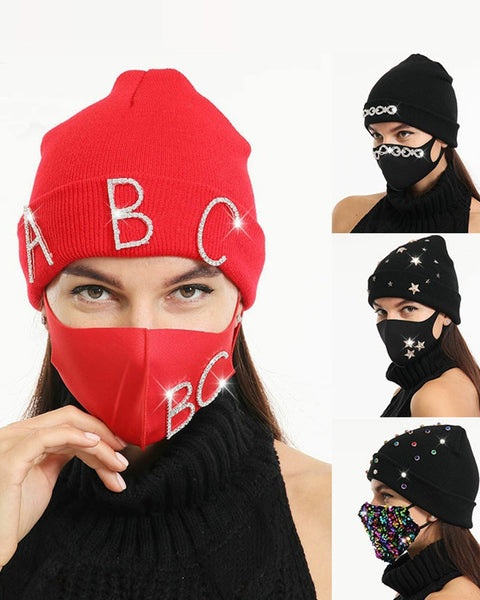 2pcs Rhinestone & Sequin Decor Face Mask & Beanie gallery 1