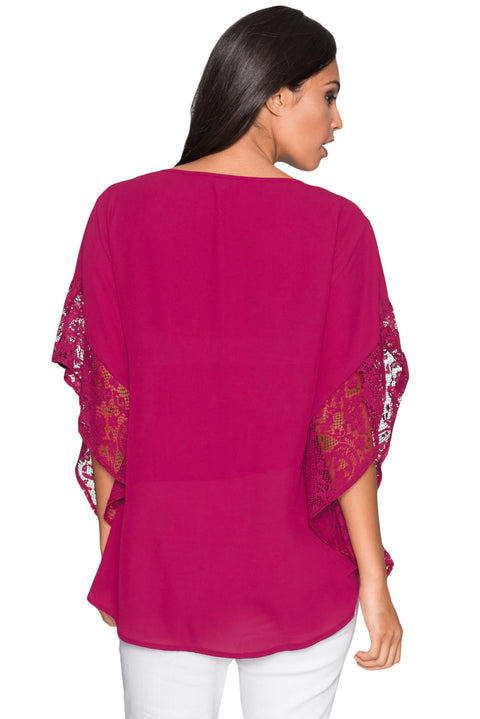 Rosy Lace Splice Batwing Sleeve Chiffon Blouse gallery 2