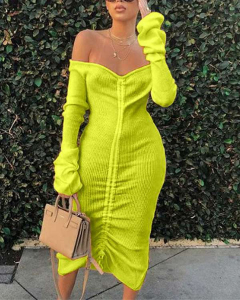 Solid Off Shoulder Ruched Ribbed Drawstring Midi Dress