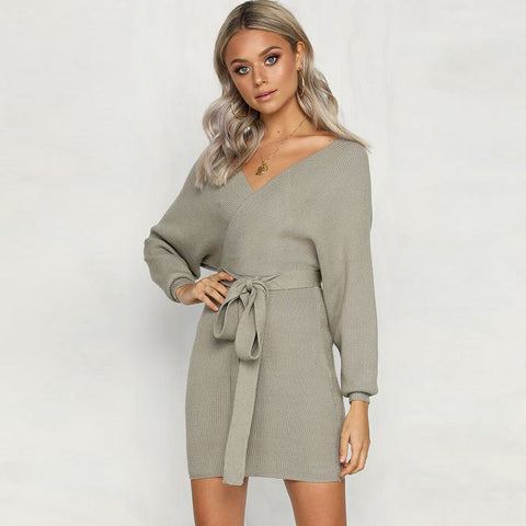 V-Neck Wrap Tied Waist Batwing Sleeve Knitted Dress