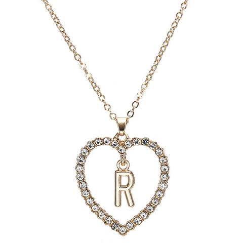 Gold Diamante Heart Shape Initial Pendant Necklace gallery 19