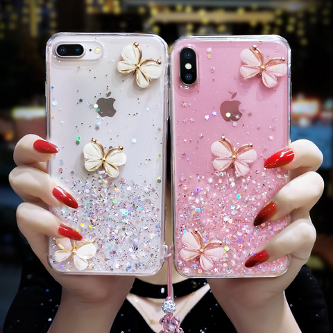Sparkle Liquid Rhinestone Butterfly Phone Case for Samsung