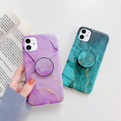 Pebbled Marble Print iPhone Case with Phone Holder