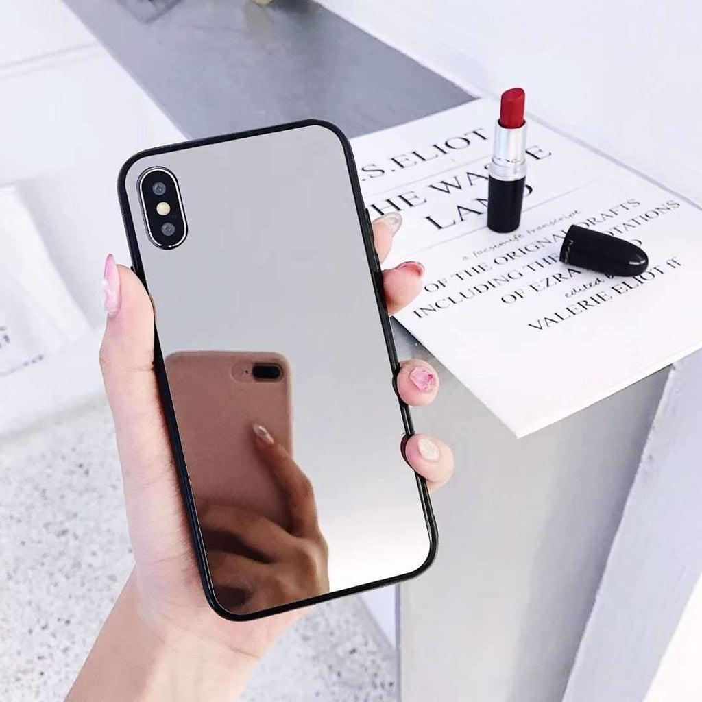 Electroplated Reflective Solid Color iPhone Case with Phone Holder