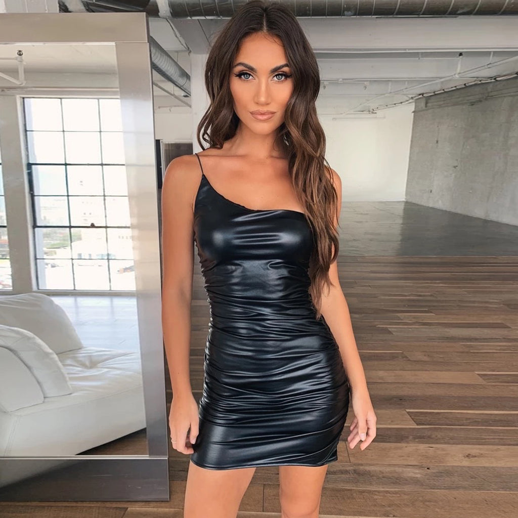 PU Leather One Shoulder Ruched Mini Dress