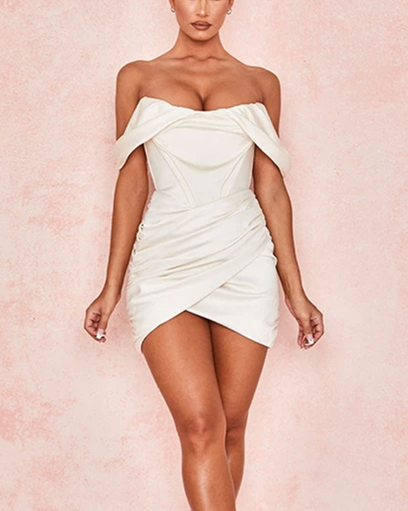 White Off Shoulder Wrap Ruched Detail Bodycon Dress