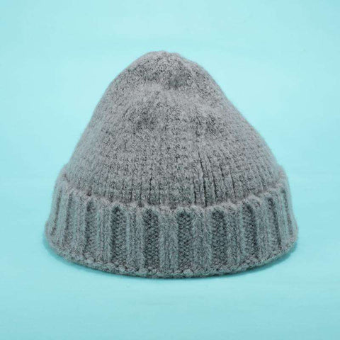 Solid-color Stitch Knit Beanie Hat gallery 9