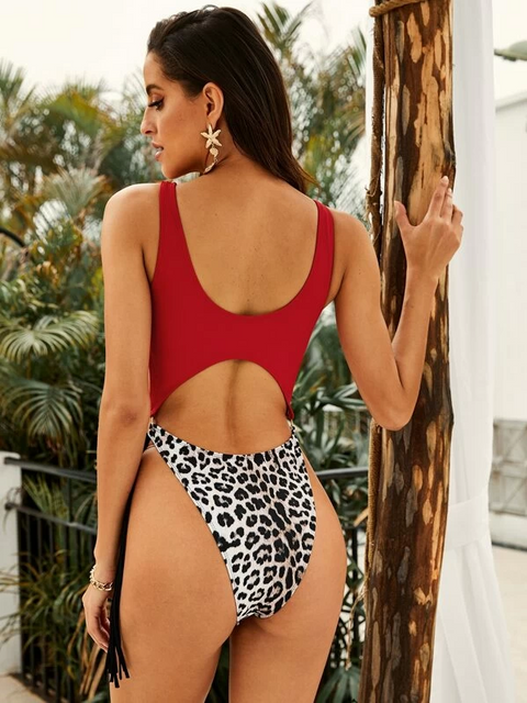 Leopard Cut-Out Ring Linked Fringe Monokini gallery 15