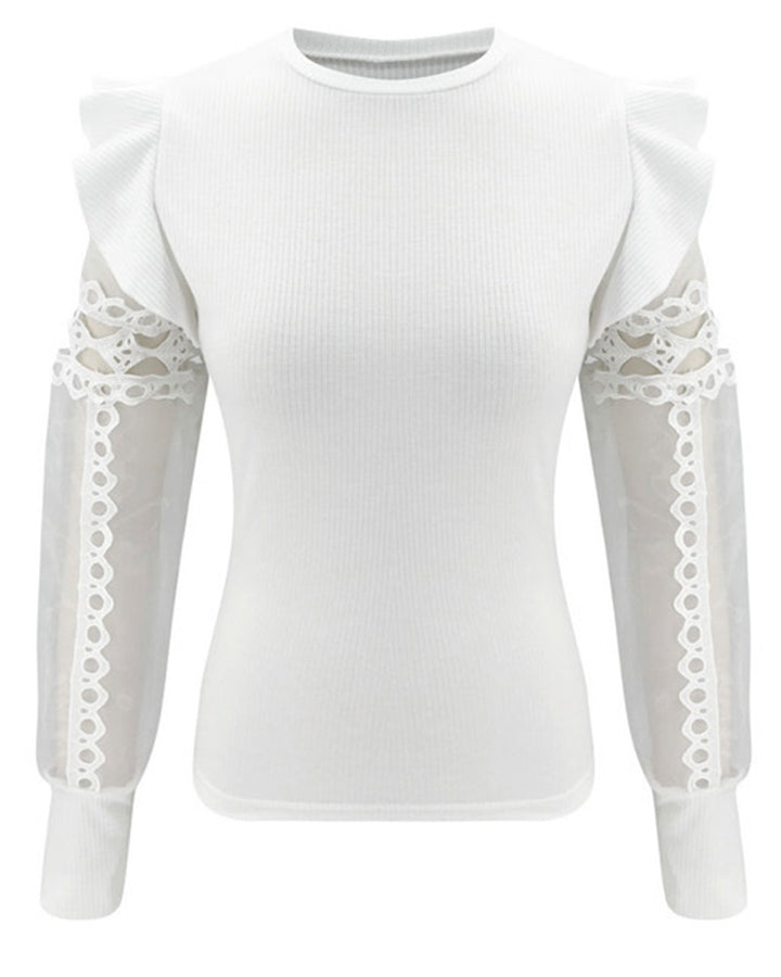 Sheer Sleeve Ribbed Knit Ruffle Trim Sweater gallery 4