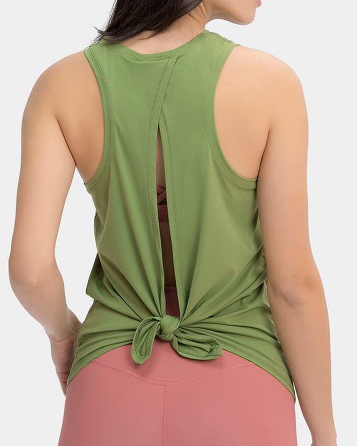 Racerback Hollow Out Tie Back Sports Tank Top gallery 2