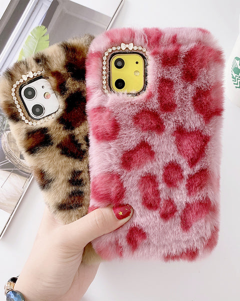 Chic Leopard Pattern Fluffy iPhone Case