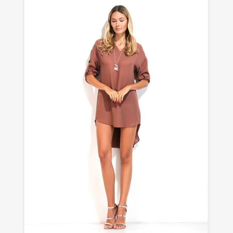 V-Neck Asymmetric Hem Mini Shirt Dress