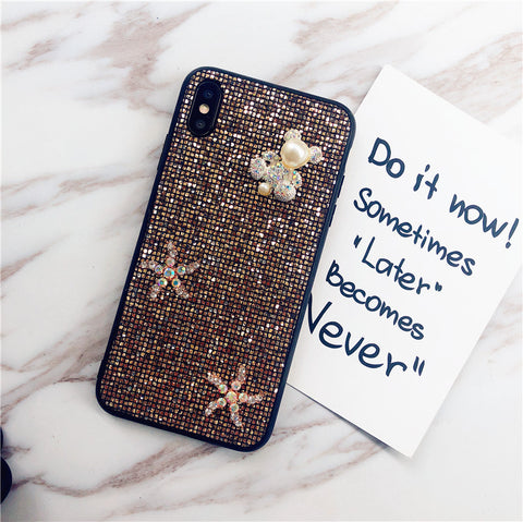 Bear & Starfish Pearl Deco Full Glittering Phone Case for Samsung gallery 2