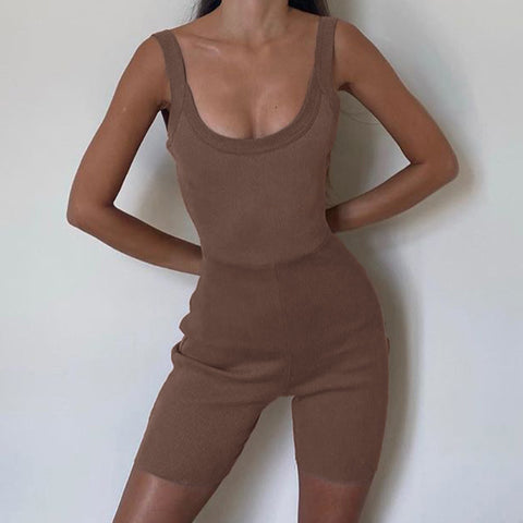 Knit Scoop Neck Open Back Ribbed Sleeveless Romper