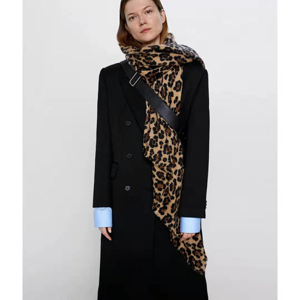 Classical Leopard Print Oversized Warm Long Cape Scarf