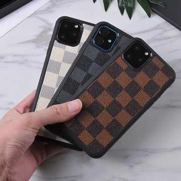 Plaid With Grain Pattern PU Phone Cases For All iPhone