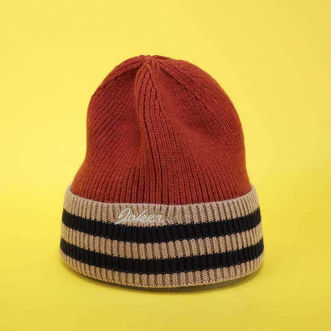 Embroidery Letter Striped Beanie Hat gallery 1