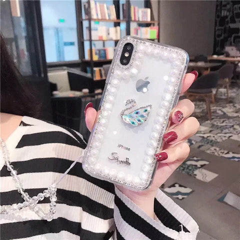 Clear Transparent Pearl Trim Deco Phone Case for Samsung with Hand Strap gallery 3