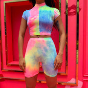 Neon Color Tie Dye Turtleneck Pants Skirt Set