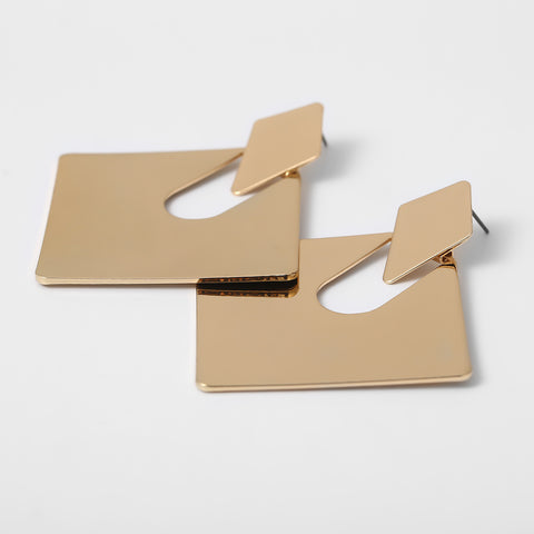 Gold Square Shape Cut Out Drop Earrings gallery 5