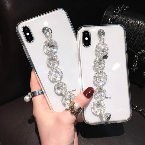 Rhinestone Clear Transparent Phone Case for Samsung with Hand Strap gallery 1