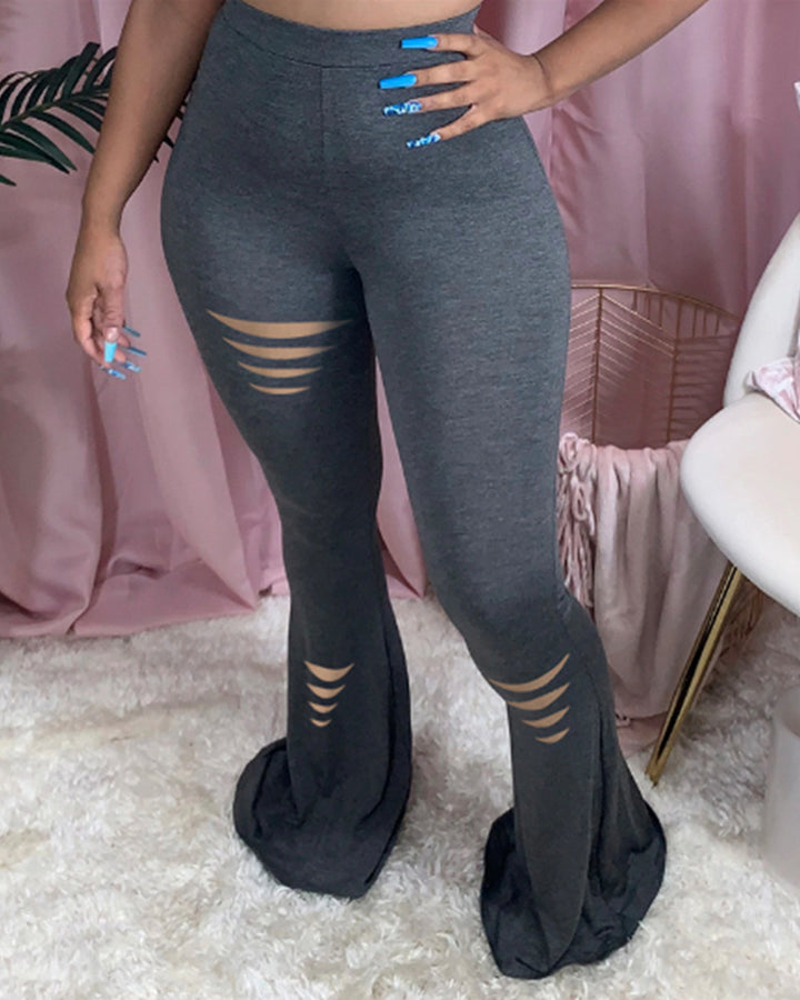 Solid Cutout High Waist Flare Pants gallery 1