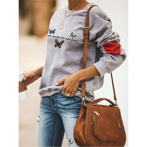 Butterfly & Slogan Graphic Drop Shoulder Sweatshirt