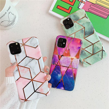 Asymmetric Marble Print Phone Cases For All iPhone