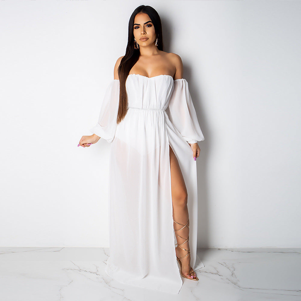 Bardot Puff Sleeve Extreme Split Maxi Dress