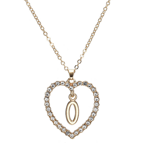 Gold Diamante Heart Shape Initial Pendant Necklace gallery 16
