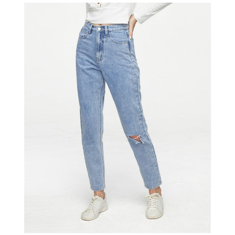 Relaxed Fit Ripped Detail Straight-Leg Jeans